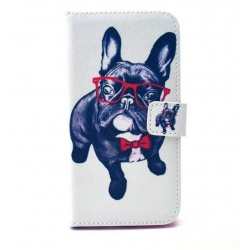 Galaxy S6 Flip Case Dog with Glasses