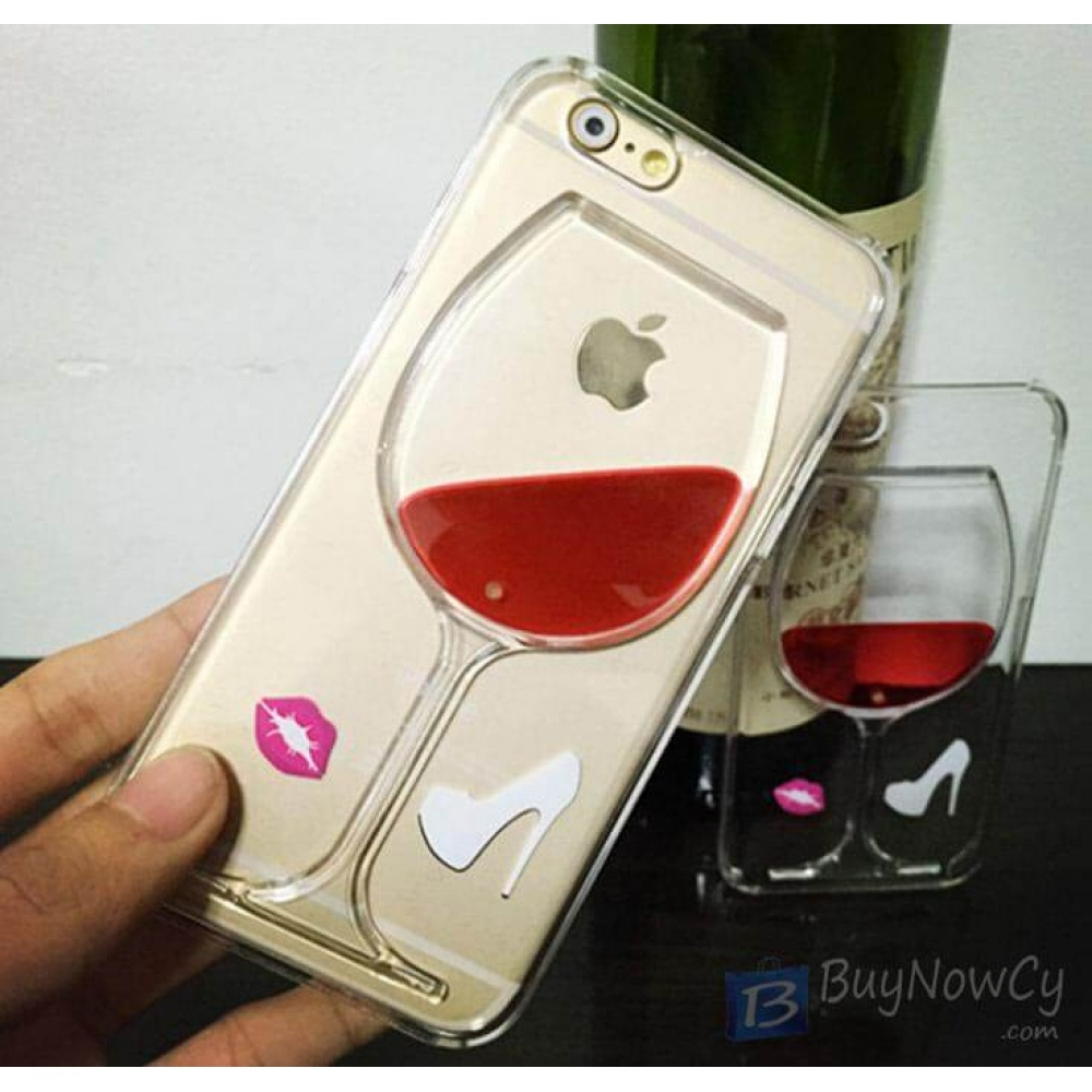 premium selection ac0a8 801b7 Silicon Case for iphone 6 6S Liquid Red Wine Glass transparent Back Cover