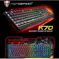 MotoSpeed K70 USB Wired Gaming Keyboard 7 Color Backlight