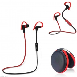 Red bluetooth handsfree earphone sports stereo earbuds