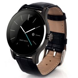 Luxury Elegant Circle Smart Watch with Leather Strap for iOS Android