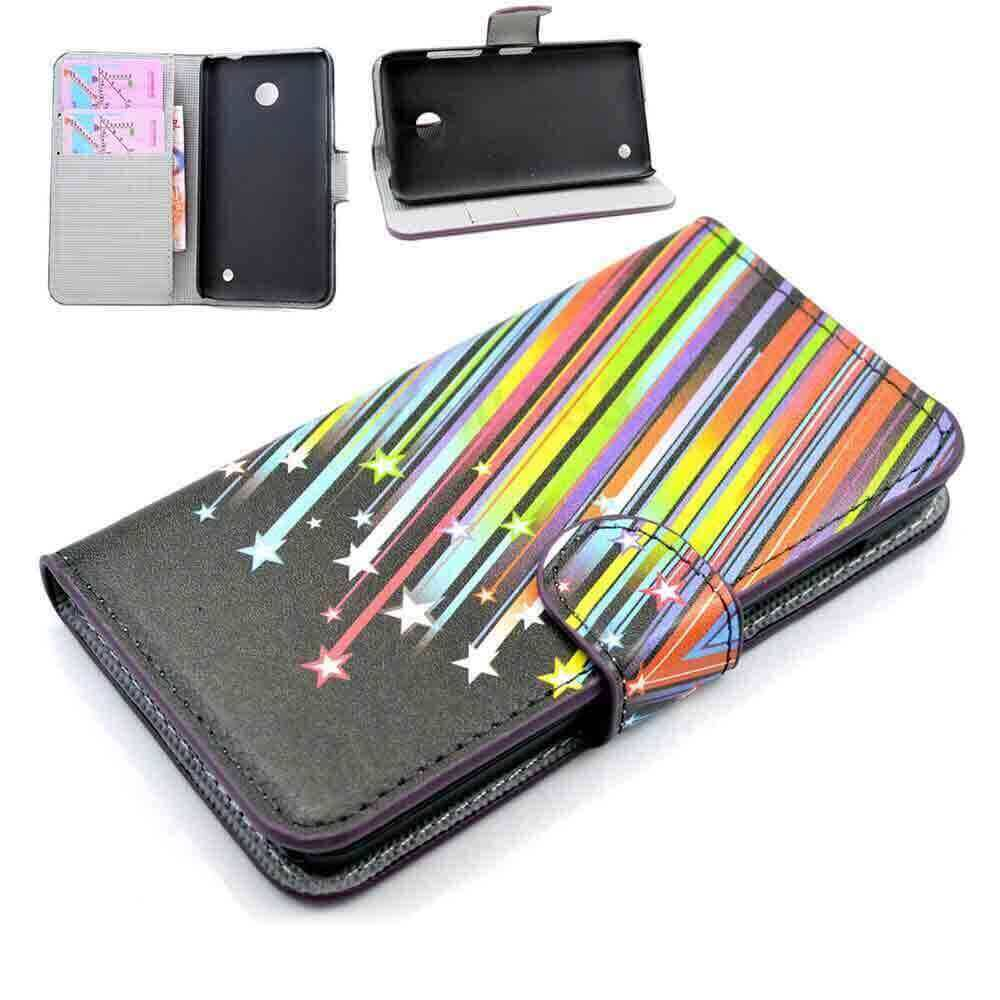 Flip Case For Nokia Lumia 630 Rainbow Stars Black