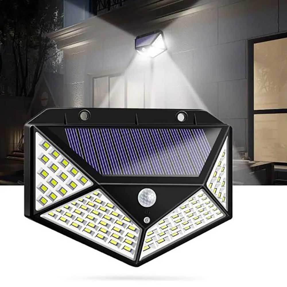 100 LED Solar Powered 600lm PIR Motion Sensor Wall Light ...