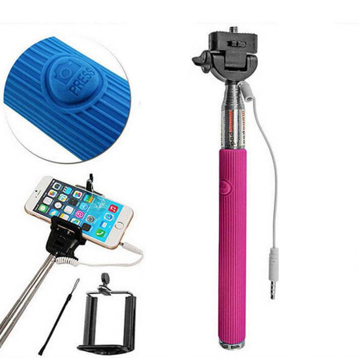 Wired Selfie Stick Extendable Monopod Handheld with Shutter button Extendable + Mount Holder Pink
