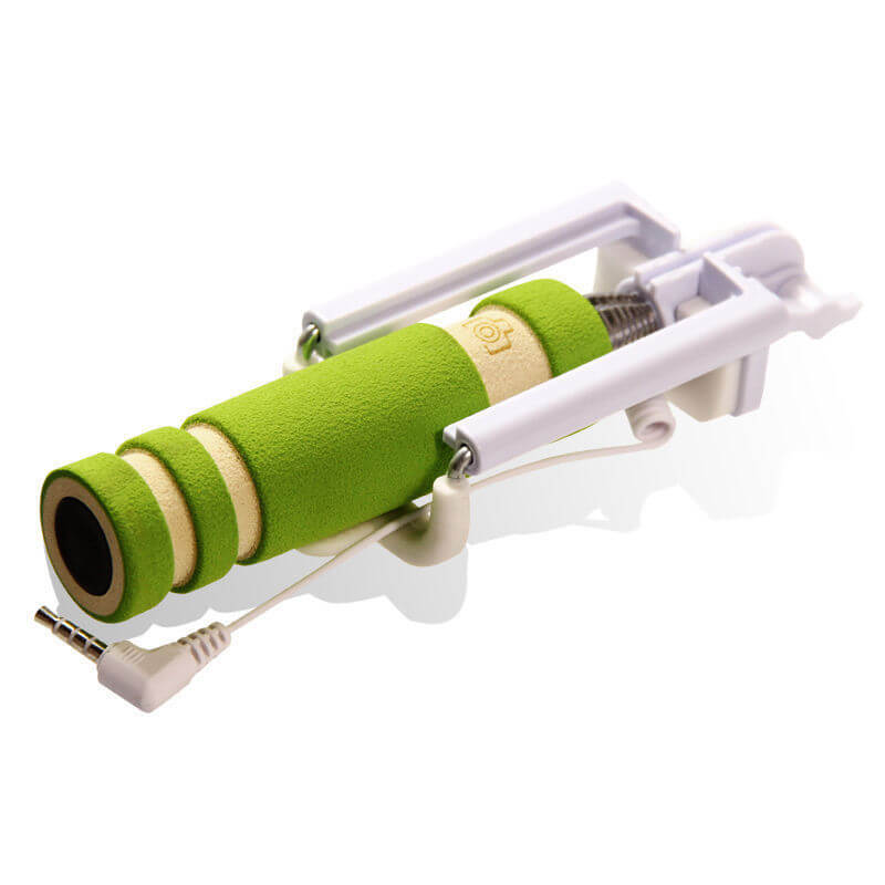 Mini Pocket Size Extendable Wired Selfie Stick with Shutter Button Green
